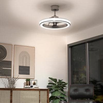 Edwin 25 in. Integrated LED Indoor Brushed Nickel Ceiling Fan with Light with Remote