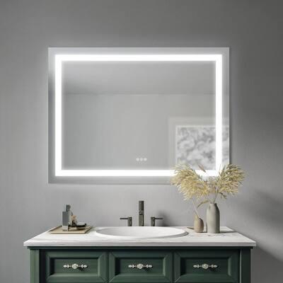 Sheba 48 in. W x 36 in. H Frameless Rectangular Luxury LED Light Bathroom Vanity Mirror
