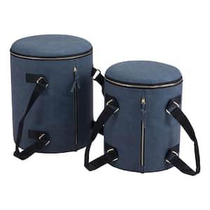 Candice Blue Storage Set Ottoman