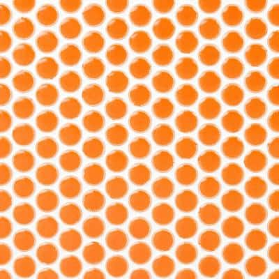 Bliss Edged Penny Round Mango 12 in. x 12 in. Polished Ceramic Mosaic Tile