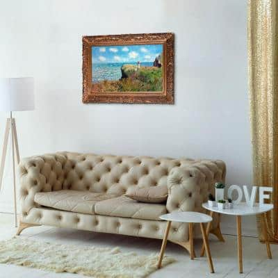 """46 in. x 34 in. """"Cliff Walk at Pourville with Burgeon Gold Frame """" by Claude Monet Framed Wall Art"""