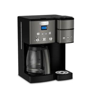 Coffee Center 12-Cup Black Stainless Steel Coffee Maker and Single Serve Brewer
