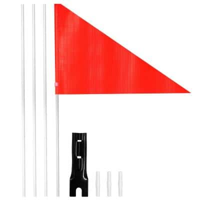 8 in. x 11 in. Bike Safety Flag with Fiberglass Pole & Mounting Bracket - Bicycle Trailer Safety Flags