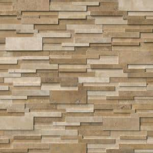 Casa Blend 3D Ledger Panel 6 in. x 24 in. Honed Natural Travertine Wall Tile (10 cases / 80 sq. ft. / pallet)