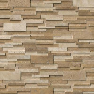 Casa Blend 3D Ledger Panel 6 in. x 24 in. Honed Natural Travertine Wall Tile (6 sq. ft./Case)