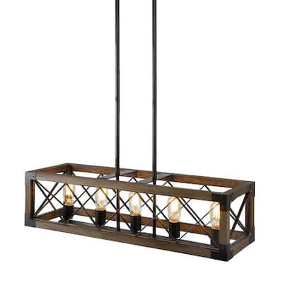 Solid Wood Modern Farmhouse Chandelier, Matte Black Rustic Kitchen Island Lighting, 5-Light Pendant Chandelier