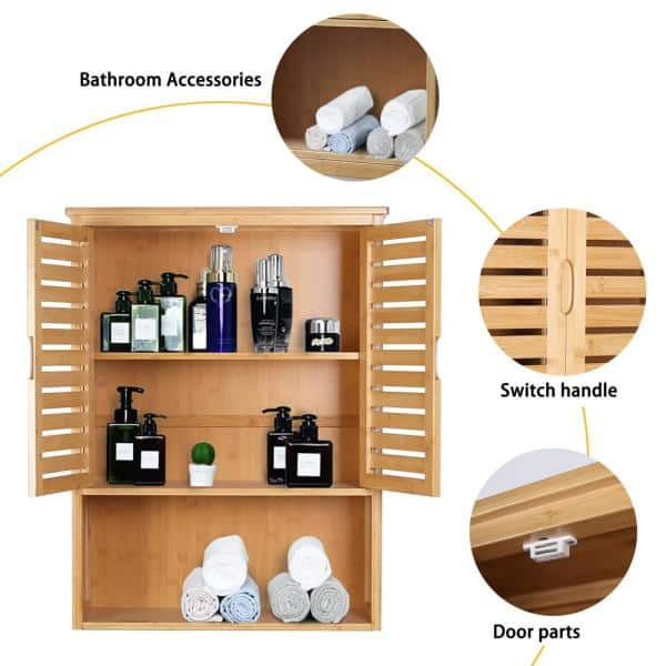 The Toilet Storage, Bamboo Bathroom Wall Cabinet