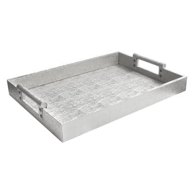 19 in. x 2 in. x 14 in. Silver Faux Leather and Wooden Rectangle Serving Tray with Handles