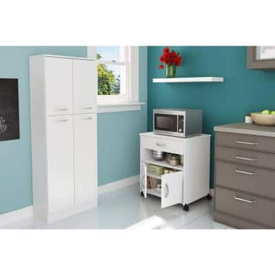 Axess Pure White Microwave Cart with Storage