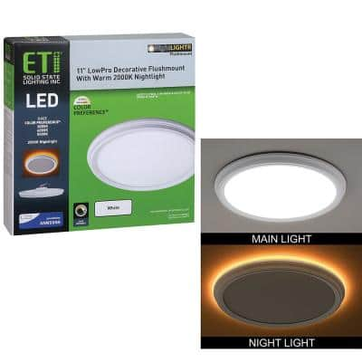 11 in. 14W White Beveled Edge Color Changing LED Flush Mount with Night Light Feature Flat Panel Ceiling Light Dimmable
