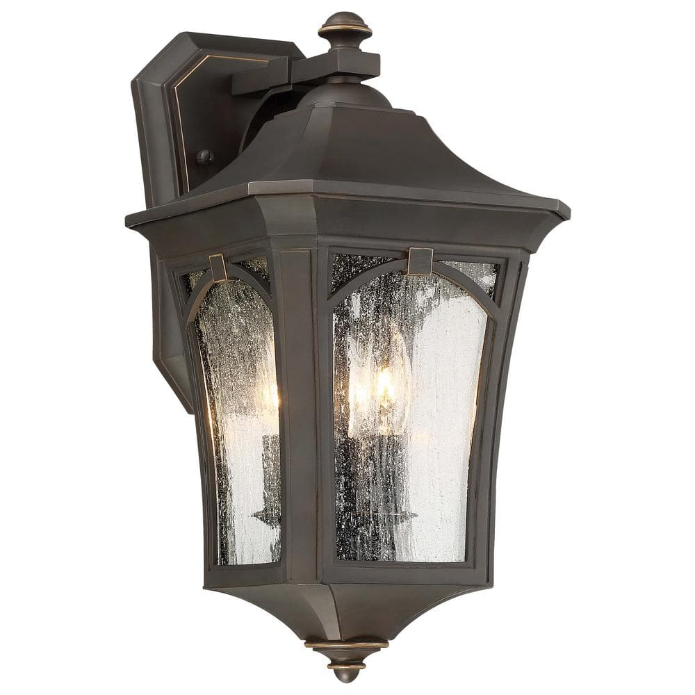 The Great Outdoor By Minka Lavery Solida 3 Light Oil Rubbed Bronze With Gold Highlights Outdoor Wall Lantern Sconce With Clear Seeded Glass 71212 143c The Home Depot