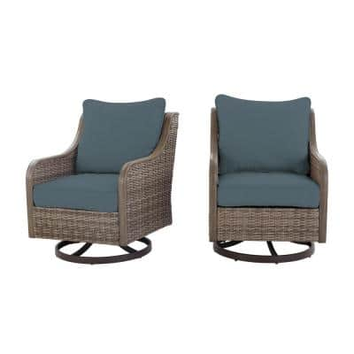 Windsor Brown Wicker Outdoor Patio Swivel Lounge Chair with Sunbrella Denim Blue Cushions (2-Pack)