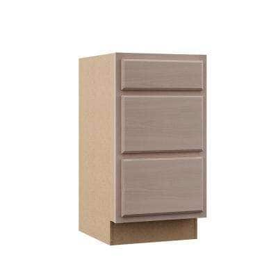 Hampton Unfinished Beech Raised Panel Stock Assembled Base Kitchen Cabinet with 3 Drawers (18 in. x 34.5 in. x 24 in.)