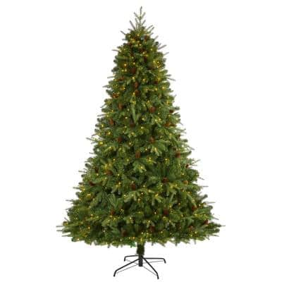 8 ft. Pre-Lit Wellington Spruce  Natural Look  Artificial Christmas Tree with 550 Clear LED Lights and Pine Cones