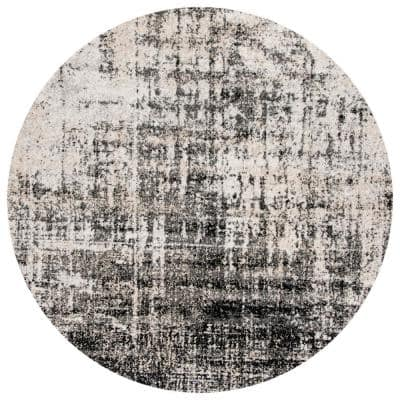 Adirondack Silver/Black 6 ft. x 6 ft. Round Abstract Area Rug