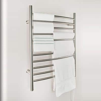 Radiant Curved 10-Bar Plug-In Electric Towel Warmer in Brushed Stainless Steel