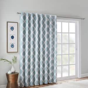 Kagen Aqua Blackout Printed Ikat Patio Window Panel Curtain 100 in. W x 84 in. L