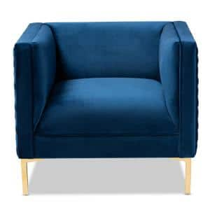 Seraphin Blue and Gold Fabric Armchair