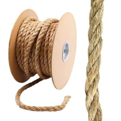 1 in. x 75 ft. Manila Twist Rope, Natural