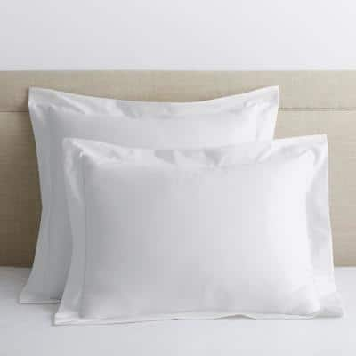 White Solid 300-Thread Count Bamboo Cotton Sateen Standard Sham