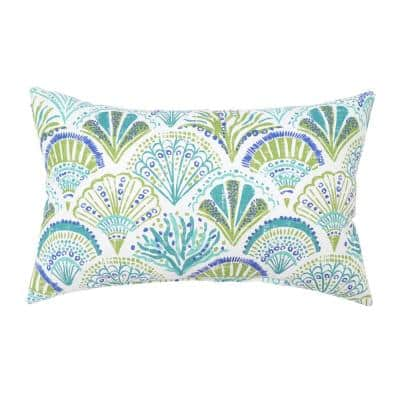 14 in. x 22 in. Coral Springs/Seaglass Outdoor Lumbar Pillow (2-Pack)
