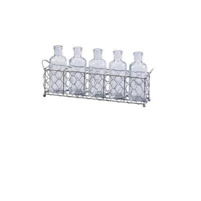 5.75 in. Silver/Clear Glass Bottles and Wire Tray Set (5-Piece)