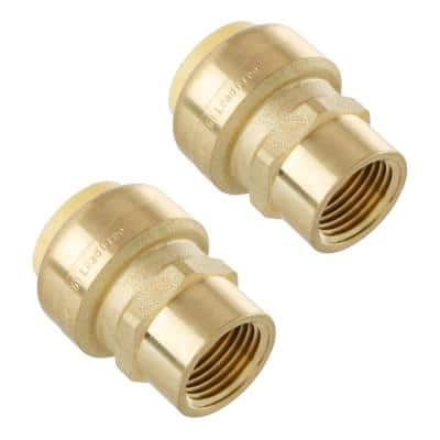 3/4 in. Push-Fit x 1/2 in. NPT Female Pipe Thread Brass Coupling (2-Pack)