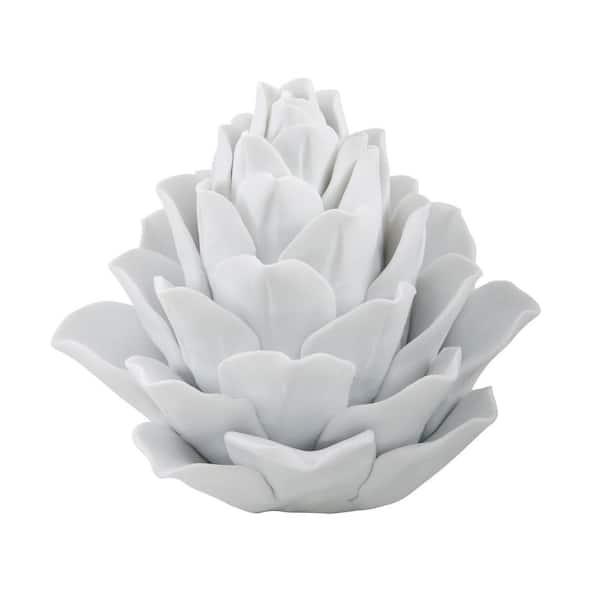 Titan Lighting - 7 in. Porcelain Artichoke Decorative Figurine in White