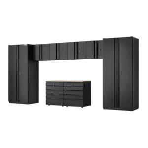 8-Piece Heavy Duty Welded Steel Garage Storage System in Black (184 in. W x 81 in. H x 24 in. D)