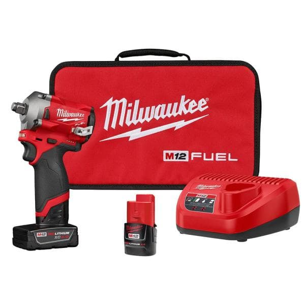 Milwaukee Electric Tools MLW2555-22 0.5 in. M12 Fuel Stubby Impact Wrench Kit