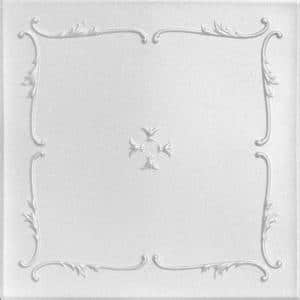 Spring Buds 1.6 ft. x 1.6 ft. Glue Up Foam Ceiling Tile in Plain White (21.6 sq. ft./case)