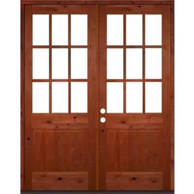 72 in. x 96 in. Craftsman Knotty Alder Wood Clear 9-Lite Red Chestnut Stain Right Active Double Prehung Front Door