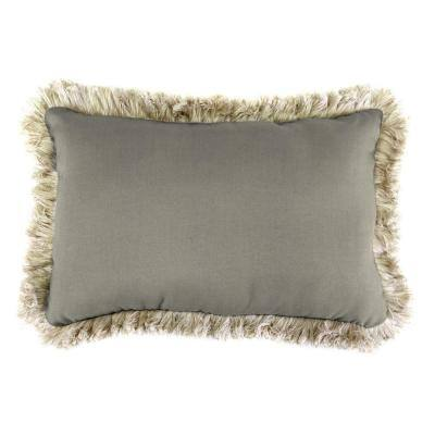 Sunbrella 9 in. x 22 in. Spectrum Dove Lumbar Outdoor Pillow with Canvas Fringe