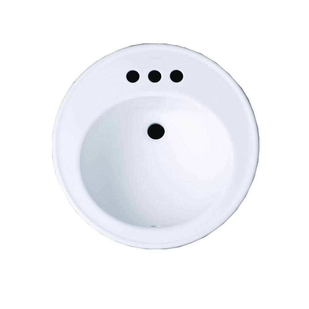 Kohler Brookline Drop In Vitreous China Bathroom Sink In White With Overflow Drain K 2202 4 0 The Home Depot