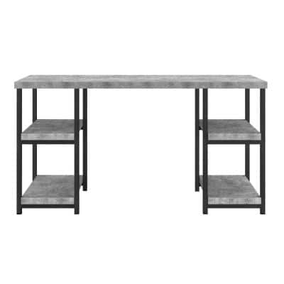 54 in. Rectangular Concrete Gray Writing Desk with Open Storage