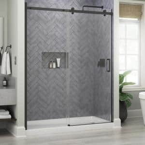 Commix 60 in. x 76 in. Frameless Sliding Shower Door in Matte Black with 5/16 in. (8 mm) Clear Glass