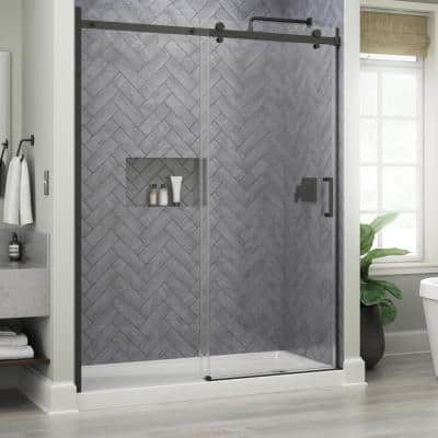 Commix 60 in. W x 76 in. H Sliding Frameless Shower Door in Matte Black with 5/16 in. (8 mm) Clear Glass