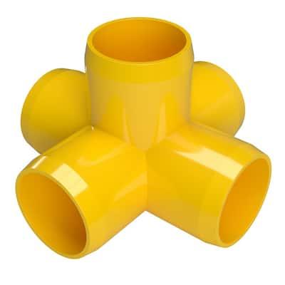 1-1/4 in. Furniture Grade PVC 5-Way Cross in Yellow (4-Pack)