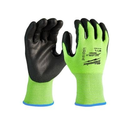 Small High Visibility Level 2 Cut Resistant Polyurethane Dipped Work Gloves (12-Pack)