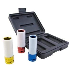 1/2 in. Metric Impact Socket Set for Lug Nut - Extra Thin Wall Deep Wheel Protector (3-Piece)