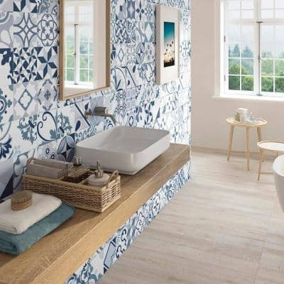 Lumier 6.5 in. x 6.5 in. Blue Glazed Porcelain Floor and Wall Tile (5.92 sq. ft. / case)