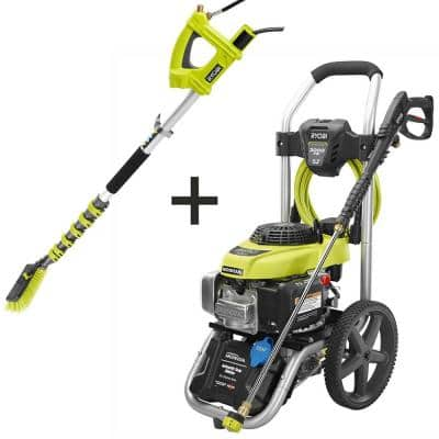 3000 PSI 2.3 GPM Honda Gas Pressure Washer and Extension Pole with Brush