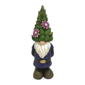 12.1 in. Gnome with Topiary Hat Polyresin Garden Statue