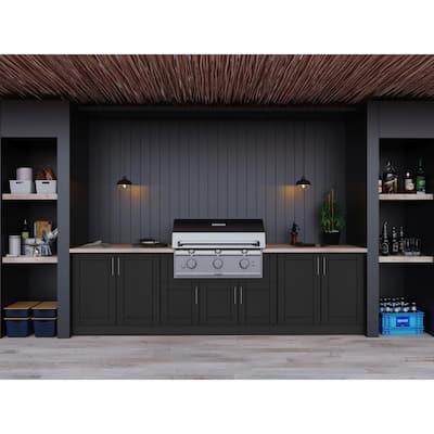 Sanibel Pitch Black 17-Piece 121.25 in. x 34.5 in. x 28 in. Outdoor Kitchen Cabinet Set