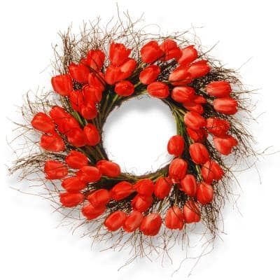 24 in. Red Tulip Wreath