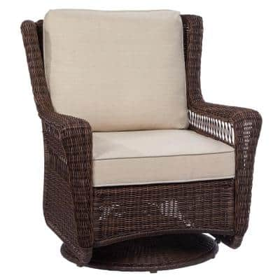 Park Meadows Brown 5-Piece Wicker Outdoor Seating Set with Beige Cushions