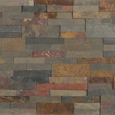 Take Home Tile Sample - Gold Rush 6 in. x 6 in. Veneer Peel and Stick Natural Slate Wall Tile (0.25 sq. ft.)