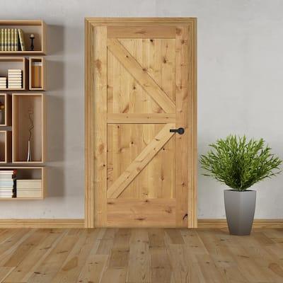 30 in. x 80 in. K Frame Unfinished Barn Door Style Knotty Alder Single Prehung Interior Door