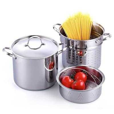 Classic 12 qt. Stainless Steel Pasta Stockpot Cooker Steamer Multi-Pot Set