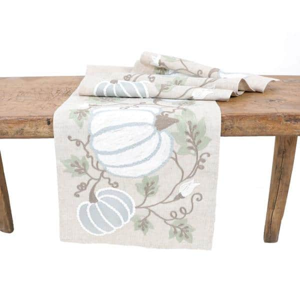 Manor Luxe - 15 in. x 90 in. Harvest Pumpkins And Vines Crewel Embroidered Fall Table Runner, Natural